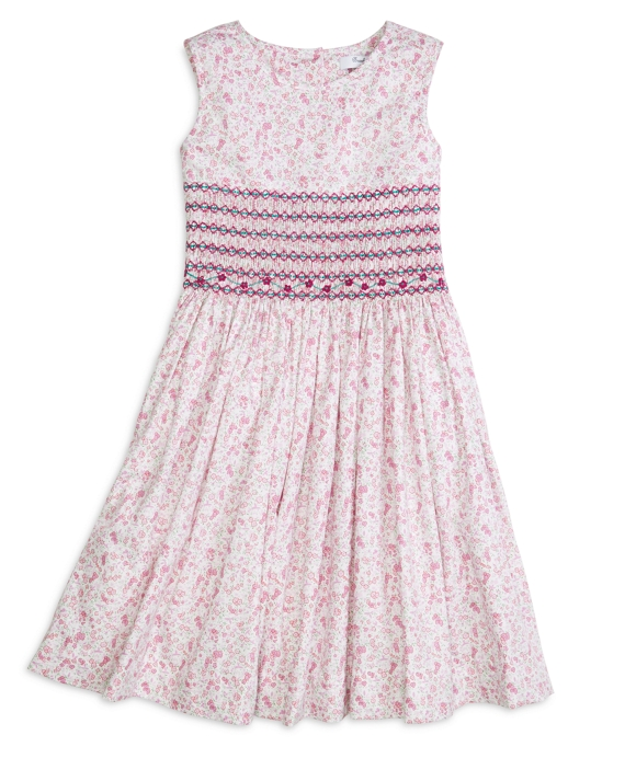 Sleeveless Smocked Floral Dress Pink