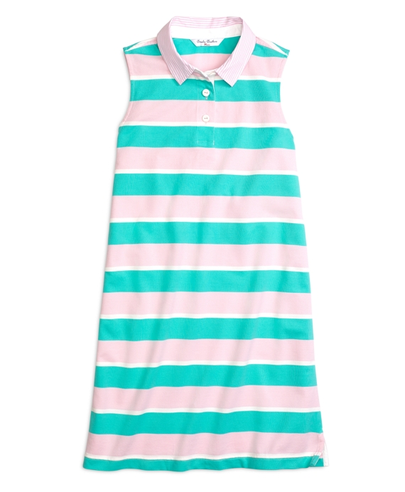 Sleeveless Stripe Rugby Dress Turquoise