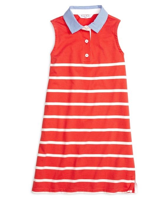 Sleeveless Stripe Rugby Dress Red