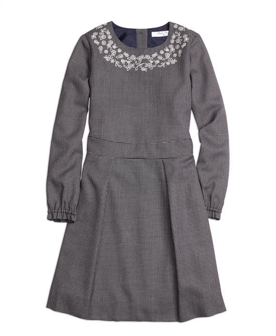Long-Sleeve Floral Dress Navy