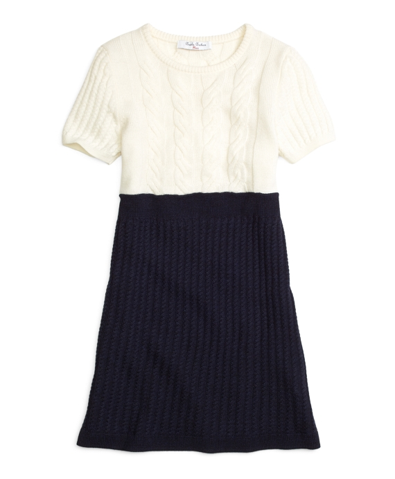 Short-Sleeve Cable Knit Dress Navy-Ivory
