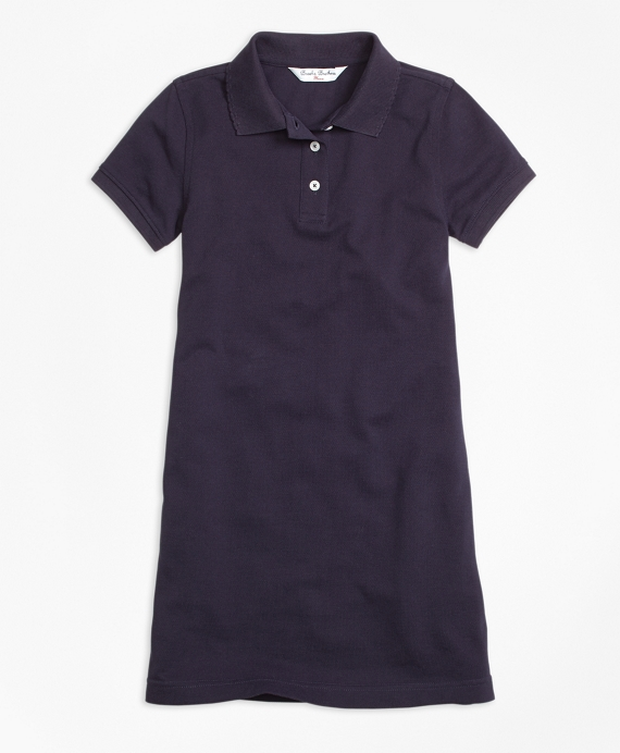 Short-Sleeve Polo Dress Navy