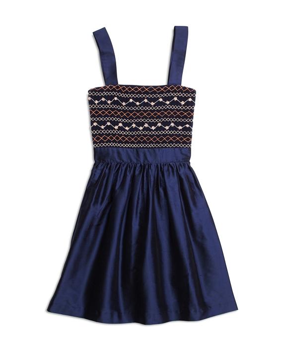 Silk Sleeveless Smocked Dress Navy