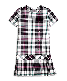 Short-Sleeve Plaid Dress