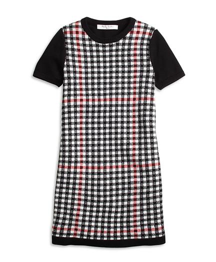 Short-Sleeve Windowpane Sweater Dress