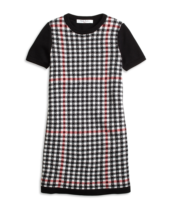 Short-Sleeve Windowpane Sweater Dress Black-Red