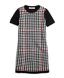 Short-Sleeve Windowpane Sweater Dress