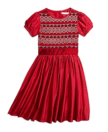 Short-Sleeve Silk Smocked Dress