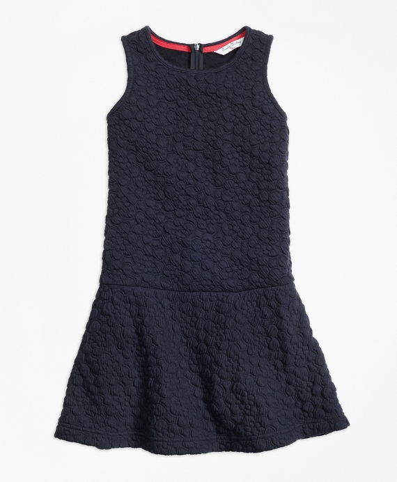 Sleeveless Floral Jacquard Dress Navy