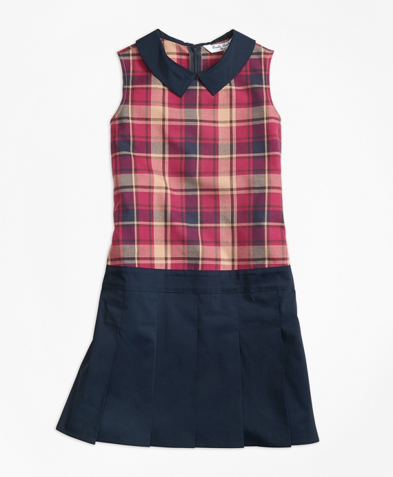 Sleeveless Mixed Media Dress Navy-Red