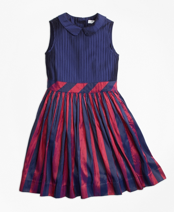 Sleeveless Stripe Silk Dress Navy-Red