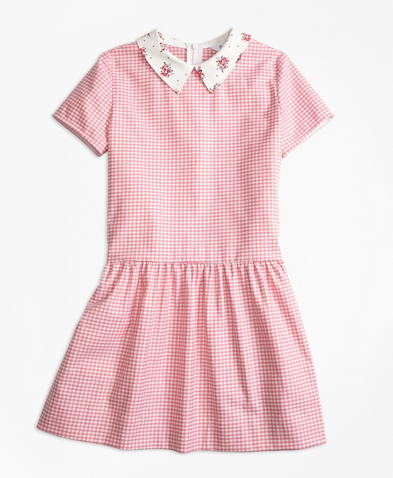 Cotton Stretch Gingham Dress Pink-Orange