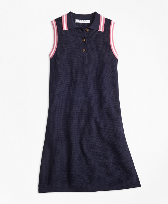 Cotton Polo Sweater Dress Navy