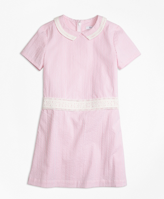 1920s Children Fashions: Girls, Boys, Baby Costumes Short-Sleeve Seersucker Dress $85.00 AT vintagedancer.com