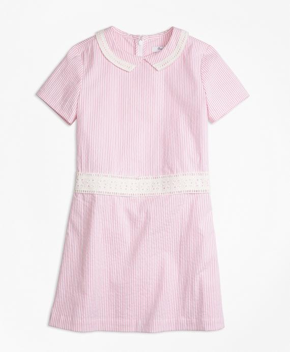 Vintage Style Children's Clothing: Girls, Boys, Baby, Toddler Short-Sleeve Seersucker Dress $85.00 AT vintagedancer.com