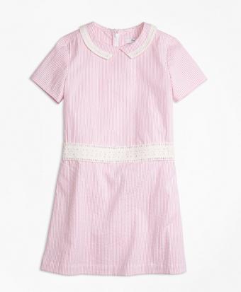 Short-Sleeve Seersucker Dress