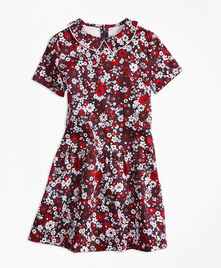 Short-Sleeve Cotton Sateen Floral Dress
