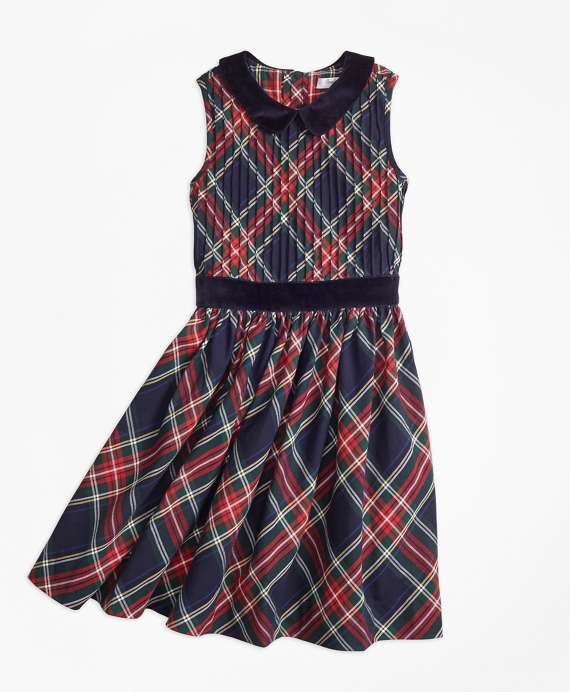 Sleeveless Holiday Plaid Dress Navy-Red
