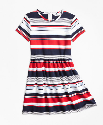 Short-Sleeve Cotton Multi-Stripe Dress