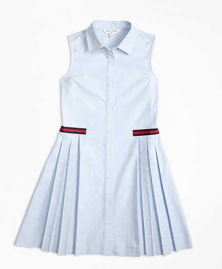 Cotton Oxford Pleated Dress