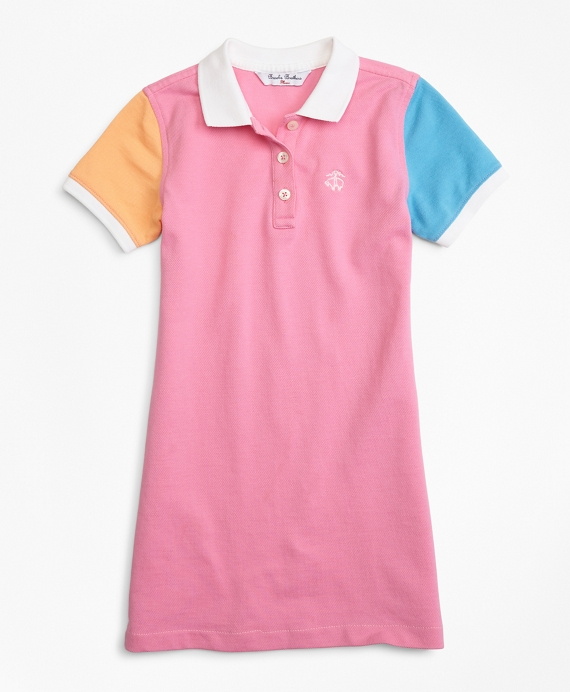 Fun Cotton Pique Polo Dress Pink-Multi