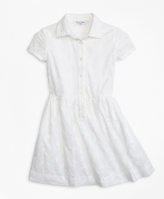 Cotton Eyelet Shirred Dress