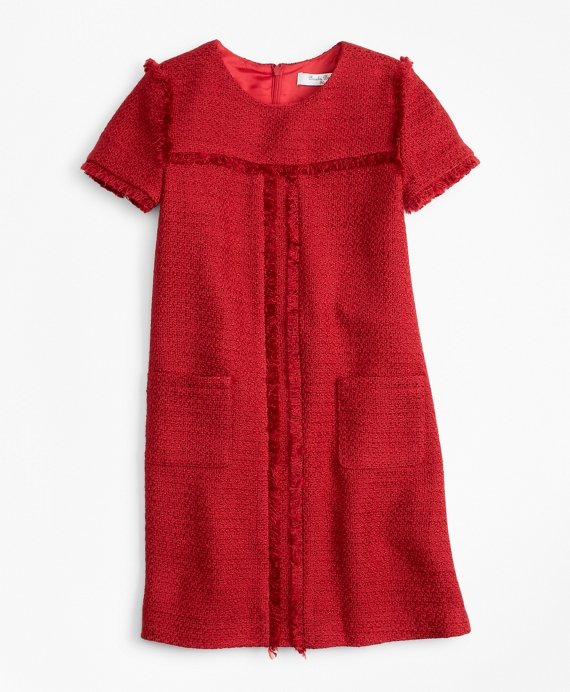 Short-Sleeve Boucle Dress Red
