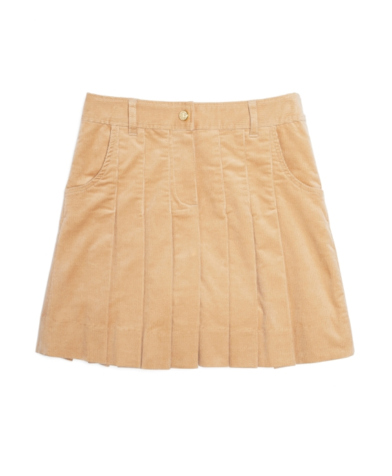 Corduroy Pleated Skirt Tan