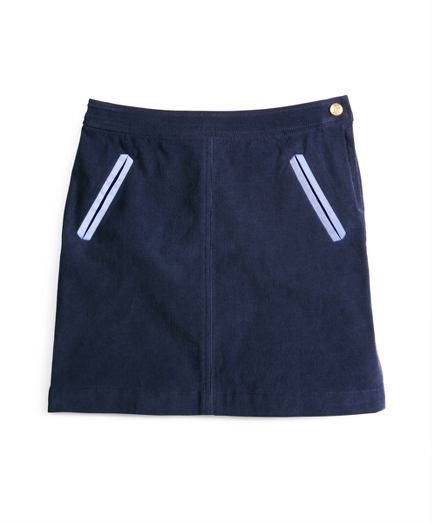 Corduroy Skirt with Oxford Trim