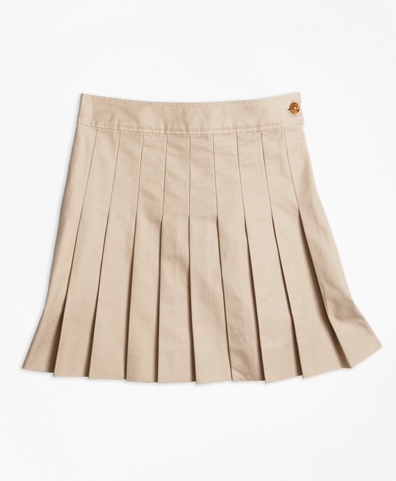 Girls' Khaki Pleated Chino Skirt | Brooks Brothers