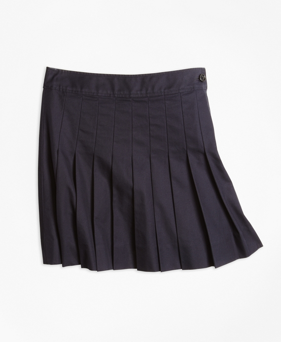 Pleated Chino Skirt Navy
