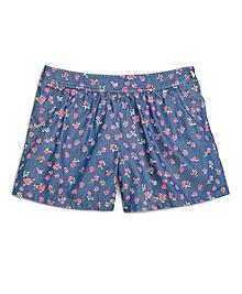 Denim Flower Print Shorts