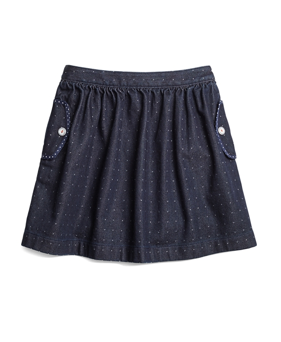 Denim Dot Skirt Dark Blue