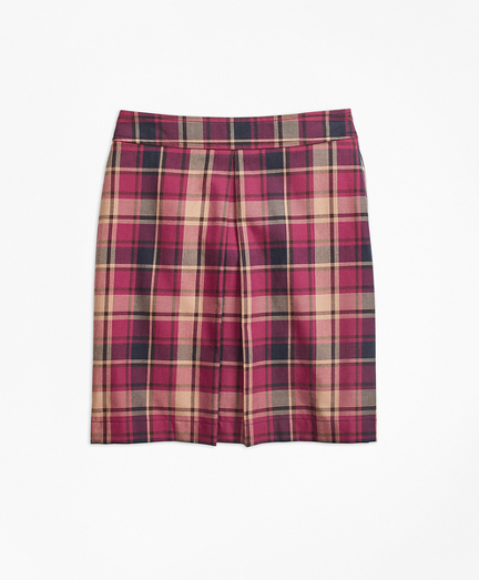 Cotton and Wool Blend Plaid Skirt