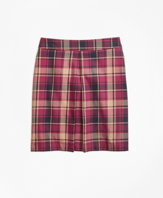 Cotton and Wool Blend Plaid Skirt Navy-Red