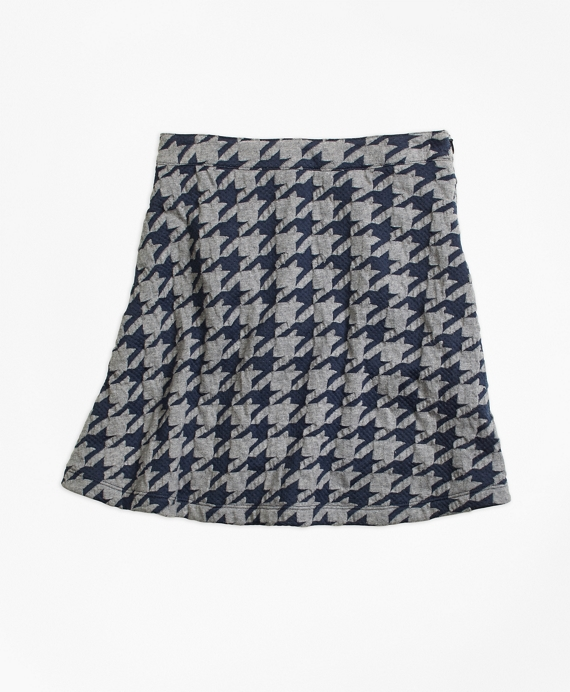 Jacquard Houndstooth Skirt Navy-Grey