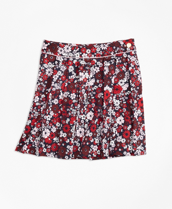 Cotton Sateen Floral Skirt Red-Multi