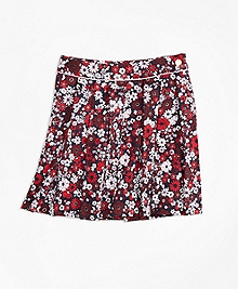 Cotton Sateen Floral Skirt