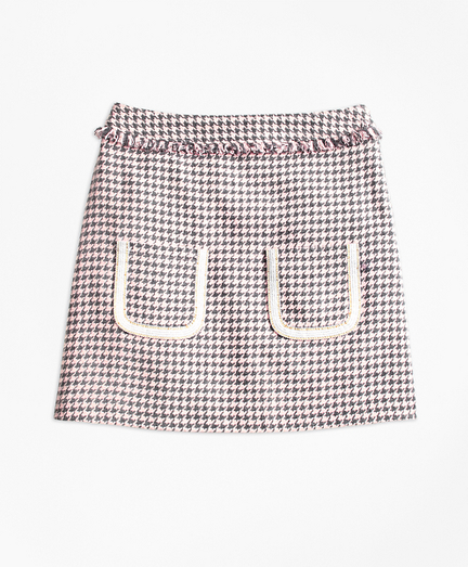 Cotton Blend Houndstooth Tweed Skirt