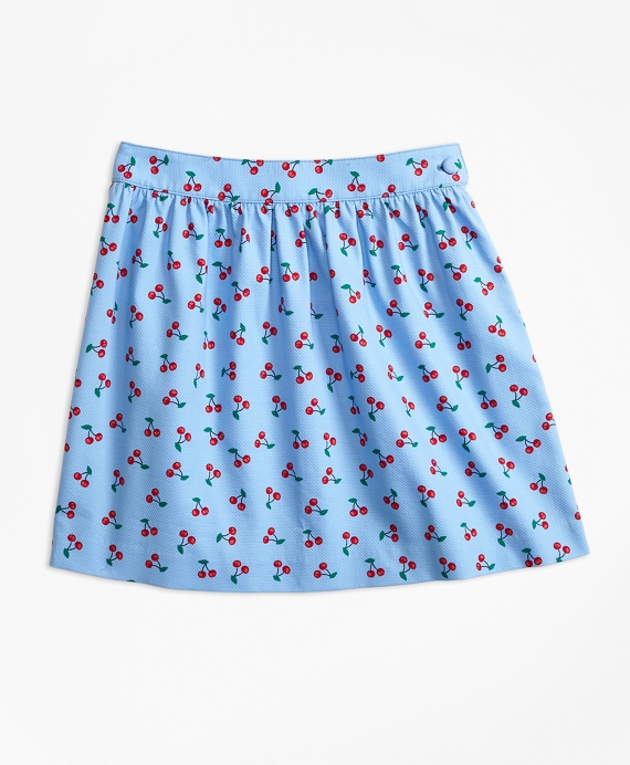 Cotton Pique Tossed Cherry Print Skirt