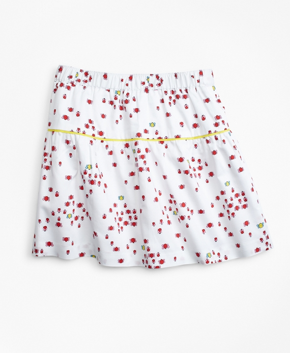 Cotton Bug Print Skirt White