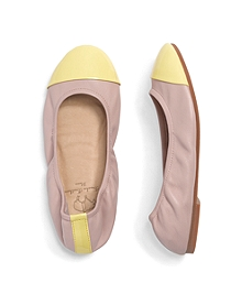 Leather Cap Toe Ballet Flats