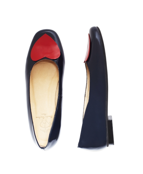 Patent Leather Heart Flats Navy