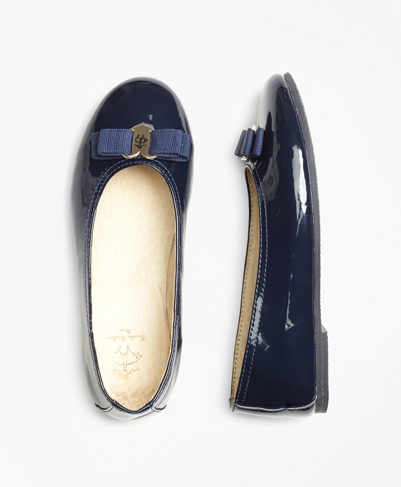 Patent Leather Ballet Flats Navy