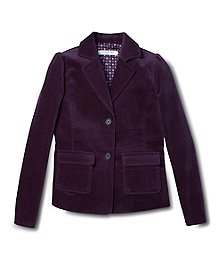 A blazer with a feminine fit in soft cotton stretch velvet. Fun tie print lining. Button front. Machine wash. Imported.