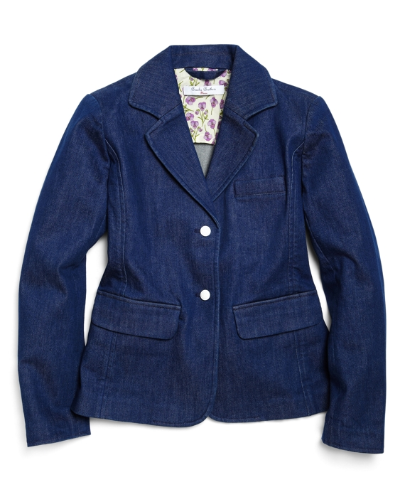 Washed Denim Blazer Denim Blue