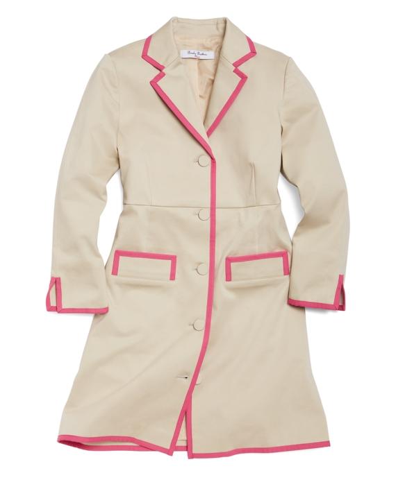 Stretch Sateen Long Coat Tan