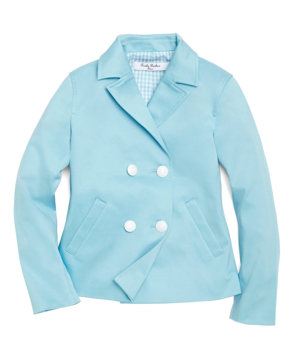 Stretch Sateen Pea Coat Aqua