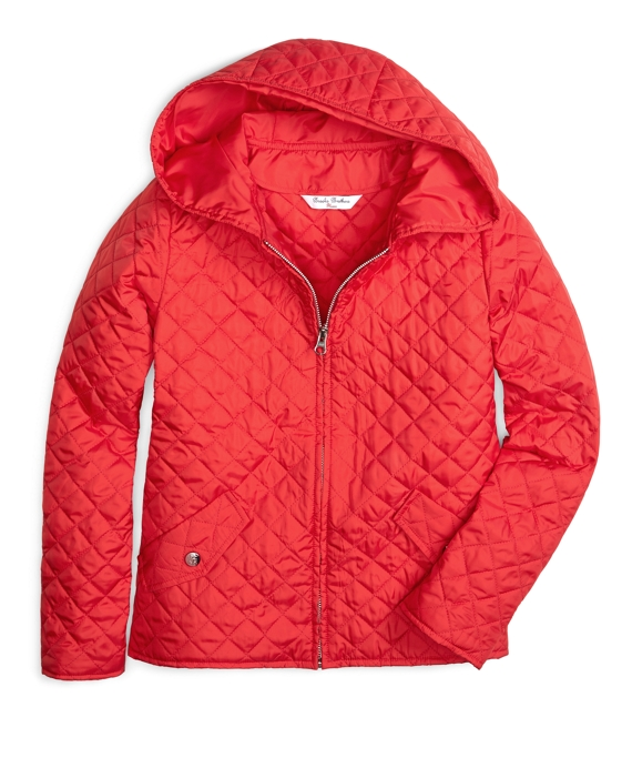Hooded Quilted Coat Red