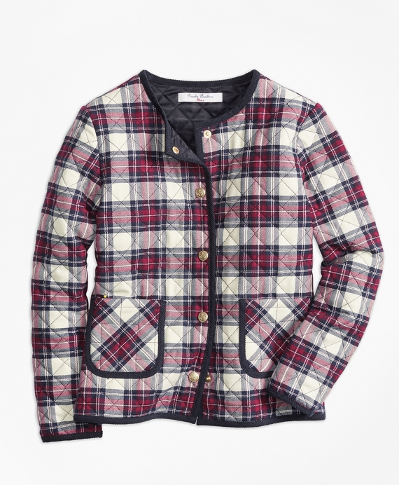 Quilted Twill Plaid Coat White-Multi
